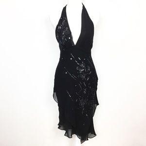 BCBGMaxAzria Silk Sequin Halter Asymmetrical Dress